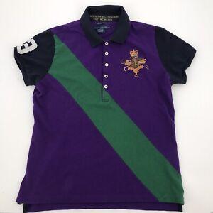 Ralph Lauren Mens Purple/Green Stripe Short Sleeve Skinny Polo Sz XL