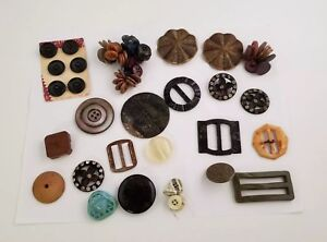 Vintage Buttons Mixed Lot of 100 Buckles, Pins All Types Sizes Colors Styles