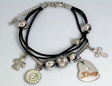 Genuine Braided Leather Charm Bracelet With Name - KIRSTY - Gifts for her