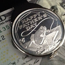 Happy Father's Day Silver-Dollar Size 1 Troy Oz Fishing Coin Money Clip