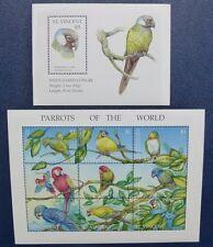 St. Vincent 1995 Papageien Parrots Vögel Birds 3053-61 Block 331 Postfrisch MNH