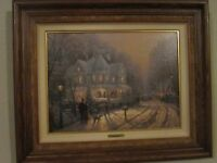 """THOMAS KINKADE """"A HOLIDAY GATHERING """" CANVAS SN WITH HAND SIGNED SKETCH - RARE"""