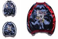 Mens Womens Unisex Sukajan Jacket Coat Premium Embroidered Bomber Outerwear yooo