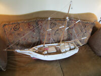 "VINTAGE LARGE 41"" CHESAPEAKE BAY PUNGY SAILBOAT MODEL FOLK ART HAND BUILT BOAT"