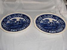 Vintage Copeland Spode Blue Tower China 2  Dinner Plates Gadroon Older NICE