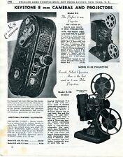 1948 Print Ad of Keystone K-8 8mm Camera, Model R-8 & K-108 Projectors
