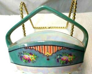 Vintage  Noritake Hand Painted Porcelain  Basket Red Hallmarked