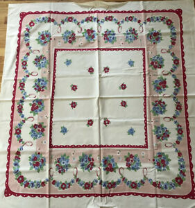 Vintage Red Blue Polka Dot Scallops Tablecloth 50 By 53