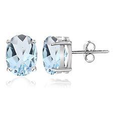 Sterling Silver Blue Topaz 7x5mm Oval Stud Earrings