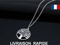 Collier Arbre De Vie Pendentif Chaîne Couleur Argent Cadeau Anniversaire Mode
