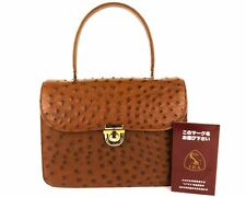 Genuine Ostrich Leather Hand Bag Brown Made in Japan JRA