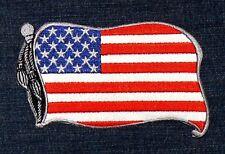 Patch Aufnäher Aufbügler: USA Flagge Fahne, Amerika Cowboy Biker, Jacke US Love