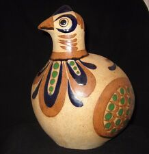 """Vintage Mexican Pottery Sandstone & Glaze Finish Large Bird - 11"""" Tall-Signed"""