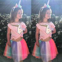 2Pcs Girls Kids Summer Unicorn Outfits T-shirt + Tulle Tutu Skirt Dress Set