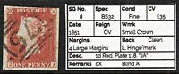 """1068 SG8 1d Red. Plate 118. """"JA"""" 1851. 4 Large Margins Fine. Spec BS32. c£35"""