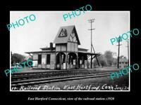 OLD LARGE HISTORIC PHOTO OF EAST HARTFORD CONNECTICUT THE RAILROAD DEPOT c1920