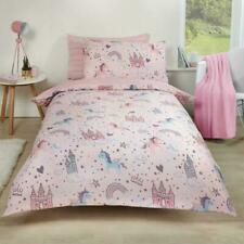 Dreamscene Unicorn Kingdom Duvet Cover with Pillow Case Reversible Star Stripe Bedding Set - Pink