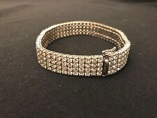 4 Row Men's Tennis Bracelet with Lab Diamonds in .925 silver White Gold Finish