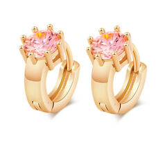 Girls child Pink crystal sunflower gold filled womens Safety small hoop earrings