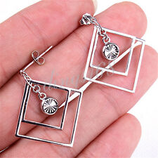 Genuine 925 Sterling Silver Dazzle Double Square Crystal Dangle Earrings M469