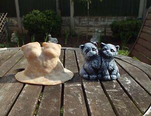 2 SMALL CATS  > latex mould To Make Garden Ornament Concrete/Plaster