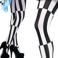 Black/White Striped Stockings Lolita Tights Pantyhose Criss Cross Jester Design