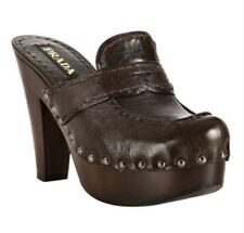 PRADA Studded Platform Loafer Clogs Mules Heels Sz 36 💯Authentic