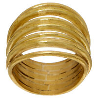 QVC Soko Goldtone Multi Layered Strand Ring Size 5