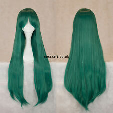 80cm long straight cosplay wig with fringe, midnight green UK SELLER, Alex style