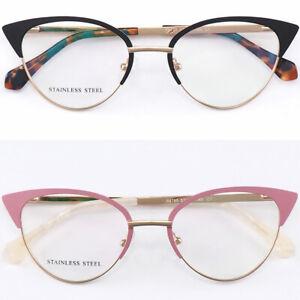 Cateye Womens Metal Frame Spring Hinges Butterfly Shape Cute Eyeglasses Black