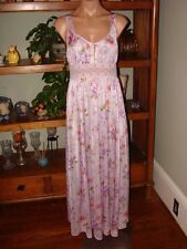 """Ladies/Womens Vintage Shadowline Long Nylon Nightgown- Bust to 36""""- Floral Print"""