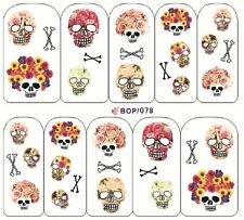 Nail Art Sticker Water Decals Transfers Halloween Skulls Day Of Dead (BOP078)