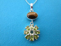 925 Sterling Silver Pendant With Natural Tigers Eye And Citrine (nk1439)