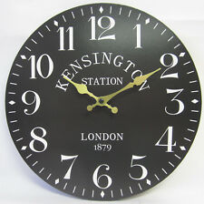 29cm Kensington Station London 1879 Black Wall Clock With Large Numbers New