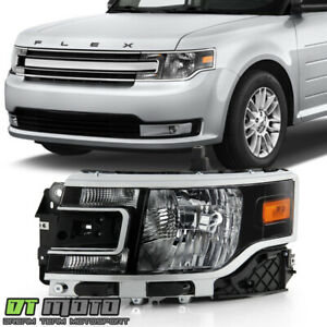 For 09-12 Ford Flex SE SEL Halogen Type Black Headlights w// Amber Side Signal