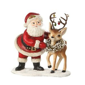 "6"" Bethany Lowe Retro Santa Reindeer Christmas Figurine Decoration"