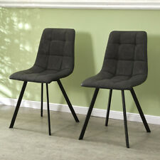 More details for 2pcs deep grey dining chairs set faux suede cushion metal legs restaurant chair