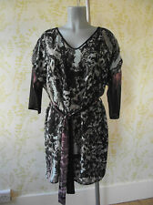 LAURA ASHLEY belted tunic dress, 3/4 sleeves & blurred floral print, UK 14-16