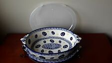 New listing *New* Temptations Old World Blue 3qt. Oval Baker with Lid-It in Egg Pattern