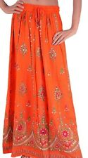 Ladies Indian Boho Hippie Long Sequin Skirt Rayon in ORANGE colour One size