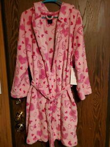 Joe Boxer WOMEN Hooded Plush Robe - Hearts Sz. L & XL NWT