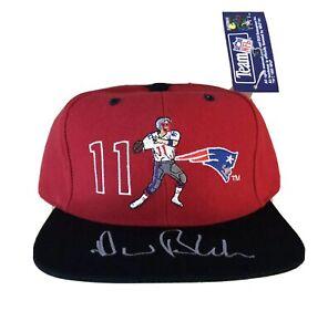 vtg NWT Drew Bledsoe New England Patriots Snapback Hat Cap Autograph NFL jersey