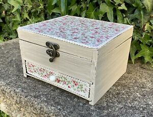 SMALL WOODEN FLORAL FABRIC COVERED DECORATIVE BOX WITH DRAWER ~ SHABBY CHIC