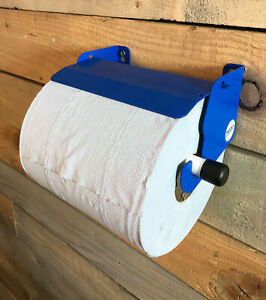 Van Mountable Blue Roll Paper Towel Holder Dispenser Stop Brake Office Cleaning
