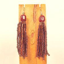 "2 1/2"" Handmade Beaded Tassel Copper Color Chandelier Style Seed Bead Earring"