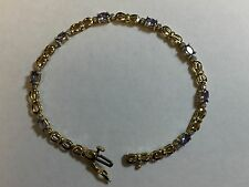 10K gold natural Tanzanite and diamond gemstone tennis bracelet