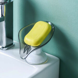 Leaf Shape Soap Holder Soap Dish For Bathroom Quick Drain Large Suction ^lk