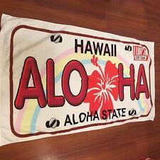 Hawaii Souvenir ALOHA 50th State License Plate Beach Towel