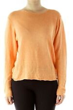 Eileen Fisher boxy linen sweater M bateau orange rolled hem