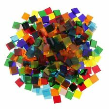 500pcs Assorted Color Square Clear Glass Mosaic Tiles for Diy Crafts Mosaic